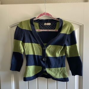 Navy and green cardigan